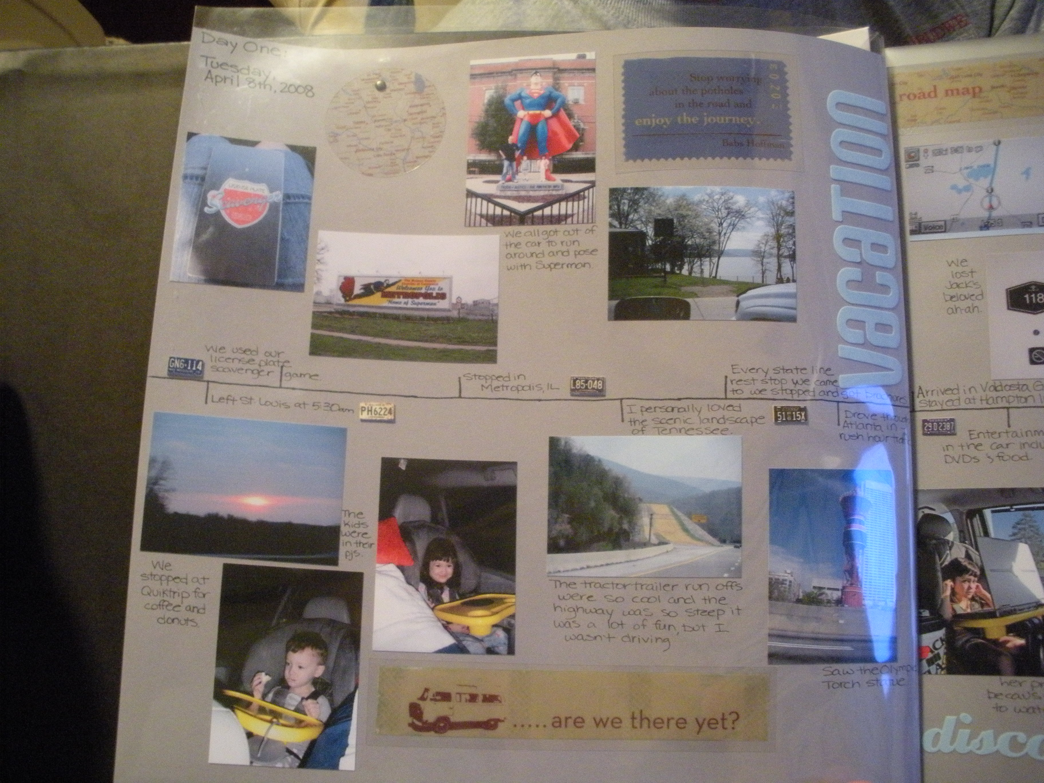 How to scrapbook a road trip - Page One Day One