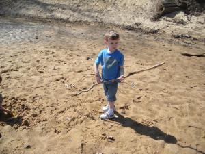 J found a stick... imagine! A boy with a stick.