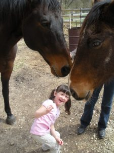 The horses are so friendly and like I said they loved L