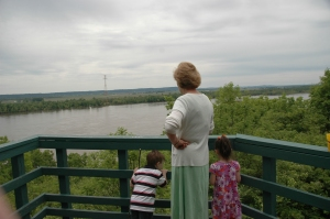 Mom and the kids admiring the view