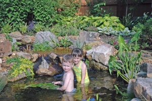 J and L in my mom's pond
